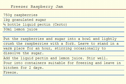 Raspberry Freezer Jam Recipe