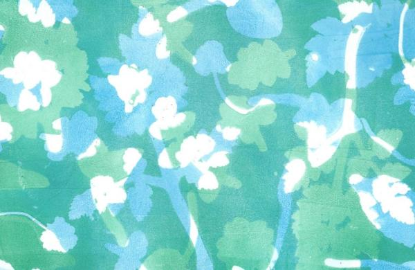 Blue green jelly print of spring leaves and flowers