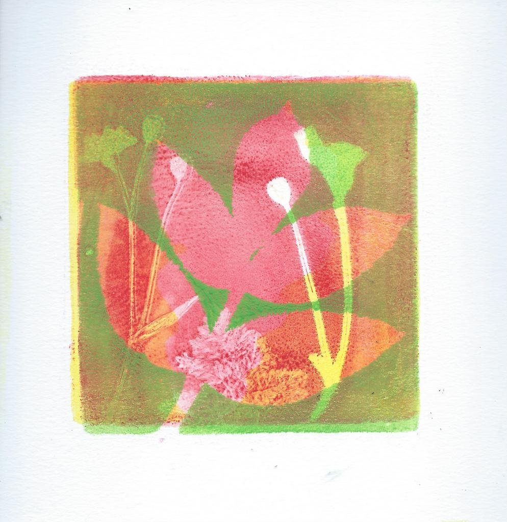 Jelly print of leaves. Green layered over red and yellow.