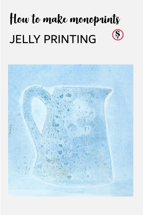 How to make monoprints Jelly Printing text with jelly printed jug below