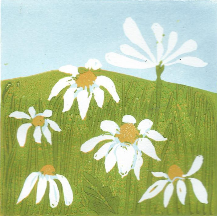 mayweed 1 reduction lino print