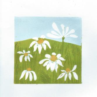 mayweed 1 reduction lino print