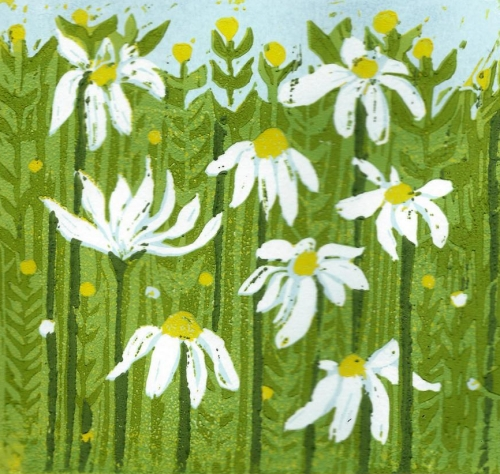 "Lino reduction print ""mayweed"""
