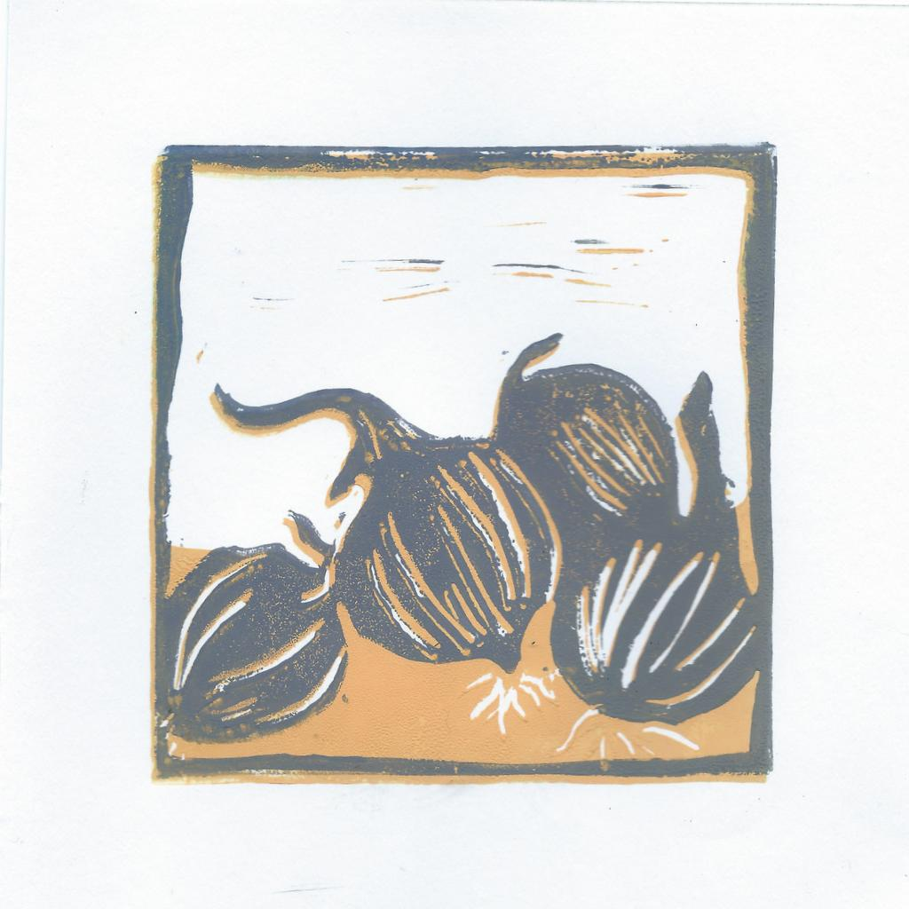 onions reduction lino print 2nd layer
