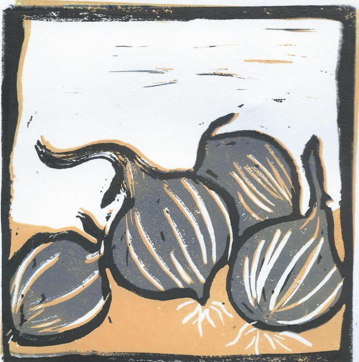 onions reduction lino print 3rd layer