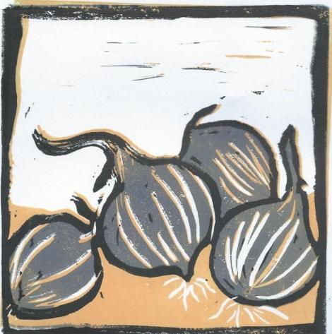 onions reduction lino print 3rd layer