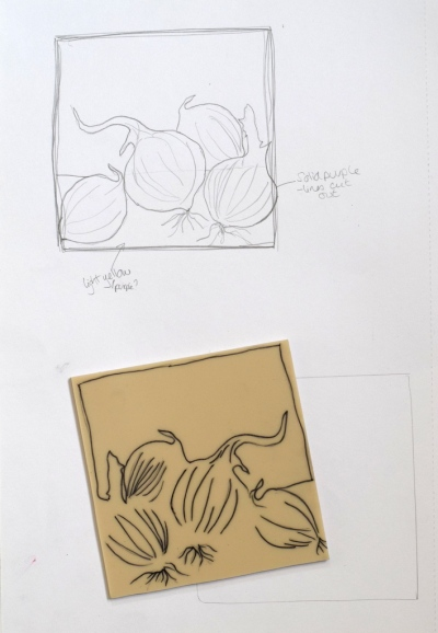 sketch for reduction lino print