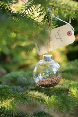 DIY Christmas bauble filled with seeds