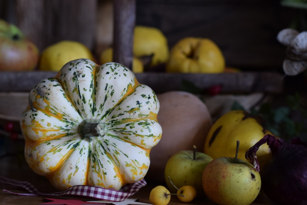 Autumn arrangement of squashes, apples, quince in The Barley Barn at Slamseys