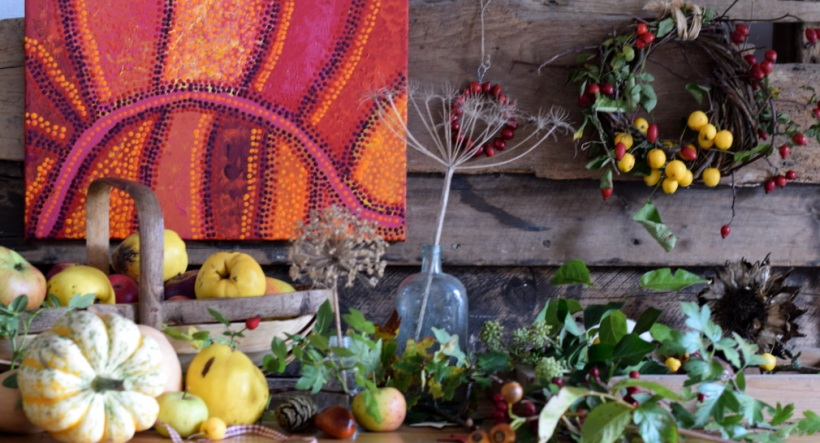 Autumn display of fruit, vegetables, seed heads, wreath in The Barley Barn at Slamseys