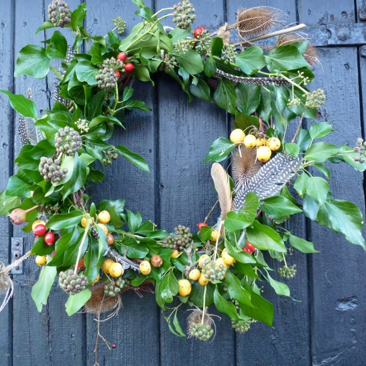Christmas wreath from the hedgerow