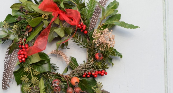 wreath making for Christmas
