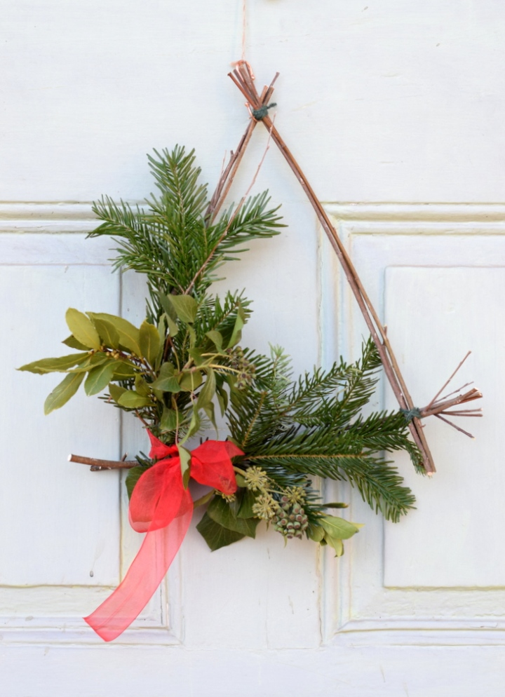 Simple triangle shaped Christmas wreath