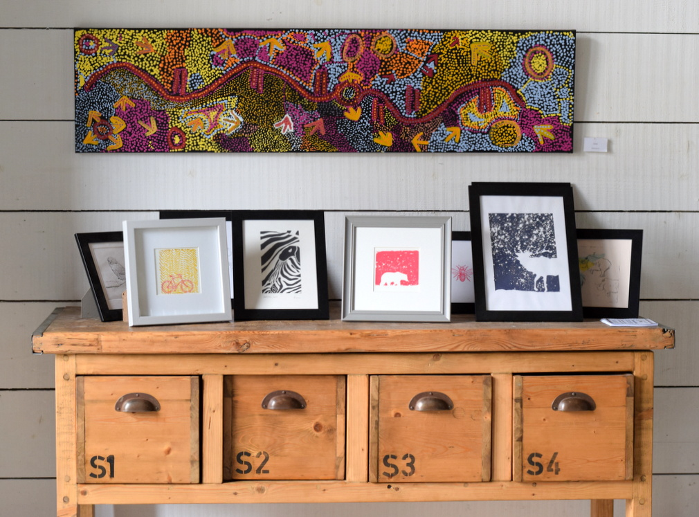 Lino prints, screen prints, drypoint in The Barley Barn, Essex
