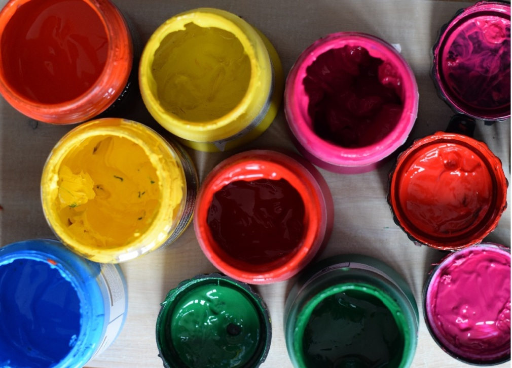 Pots of printing inks for screen printing
