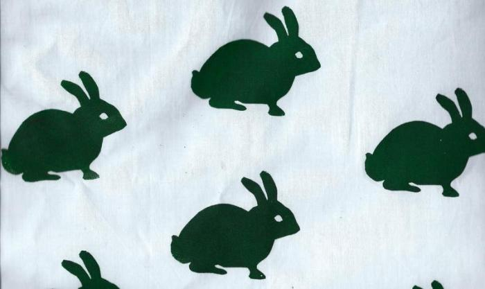 Rabbits repeat print using embroidery hoop screen