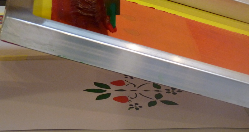 Making a two colour screen print of leaves and berries
