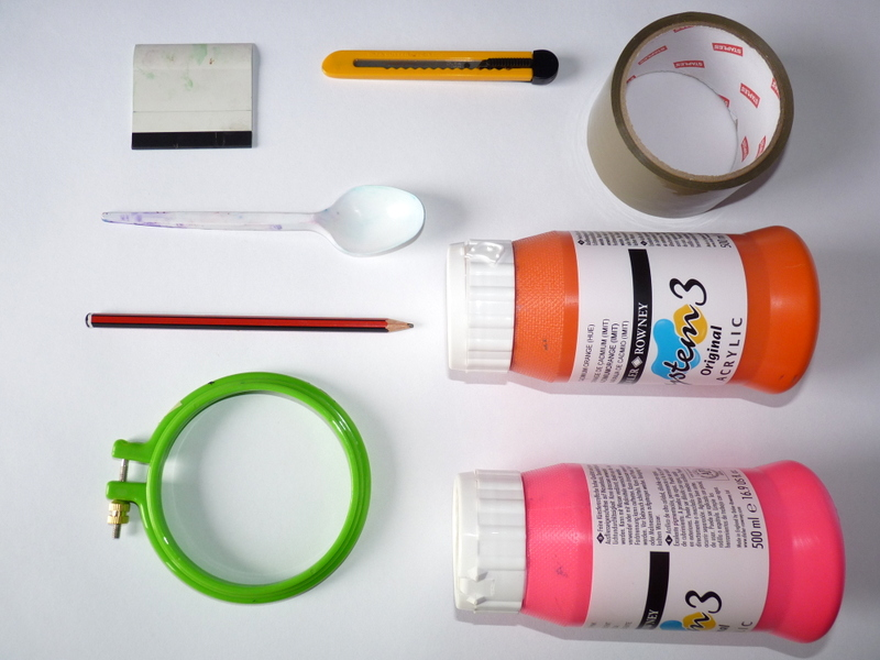 Equipment for screen printing with an embroidery hoop screen
