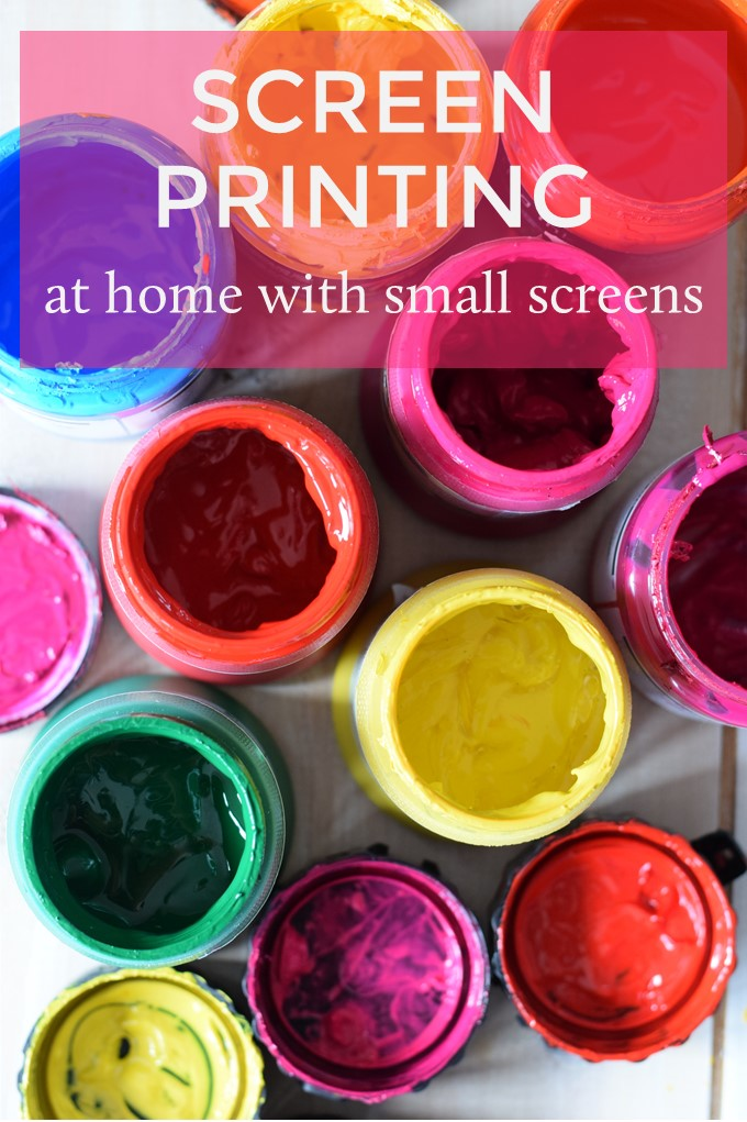 Pots of screen printing colours with text Screen printing at home with small screens