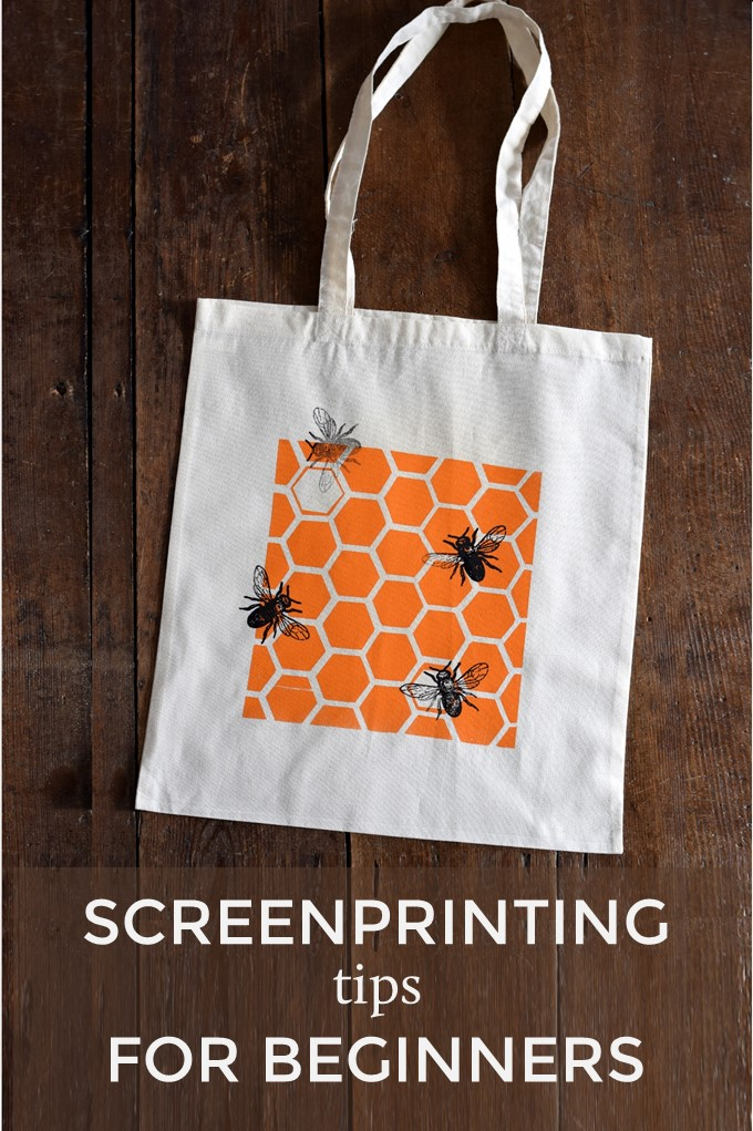 Screenprinted bag with bees and honeycomb with text Screenprinting tips for beginners