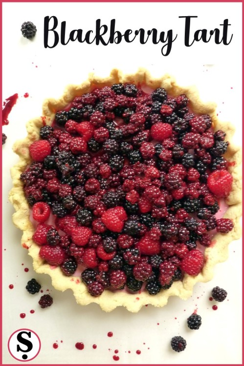 Shortcrust Pastry tart filled with creamy blackberry layer topped with wild blackberries