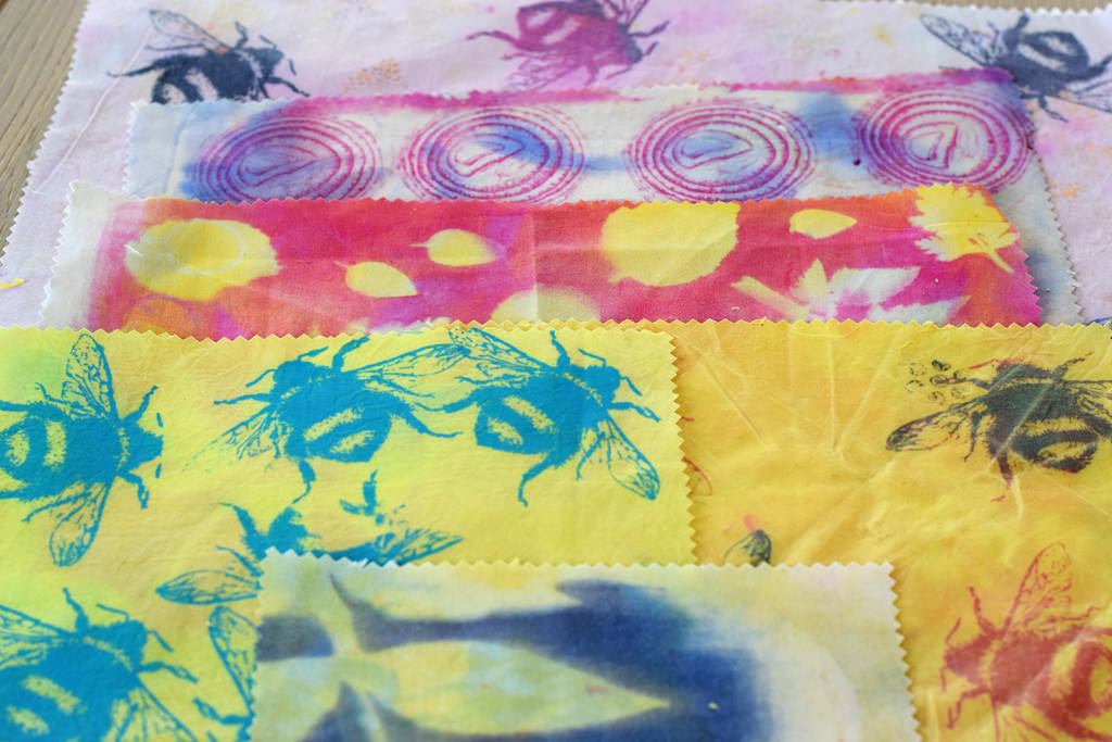home made beeswax wraps printed with thermofax, onion, jelly print