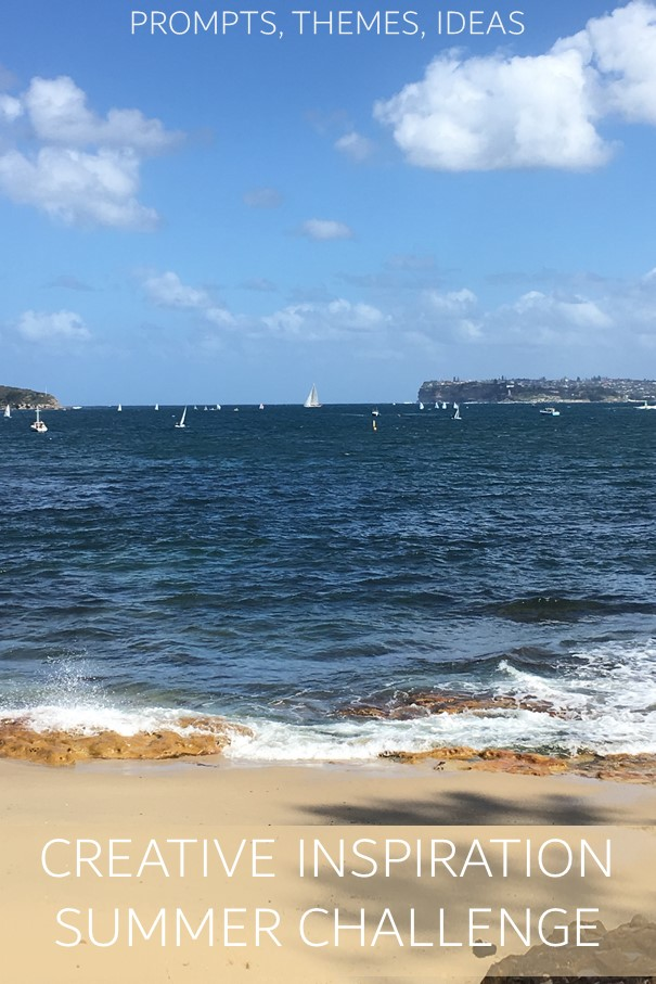 Prompts, themes, ideas for creative inspiration summer challenge text on photo of Sydney Harbour