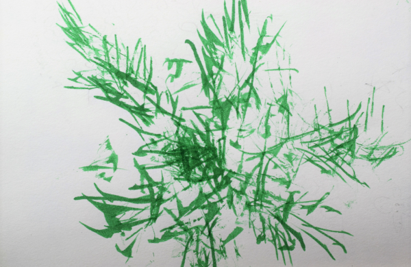 Green picture made with feather painting