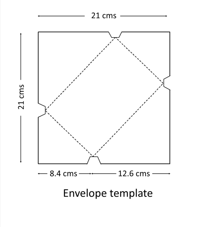 Template for hand made envelope