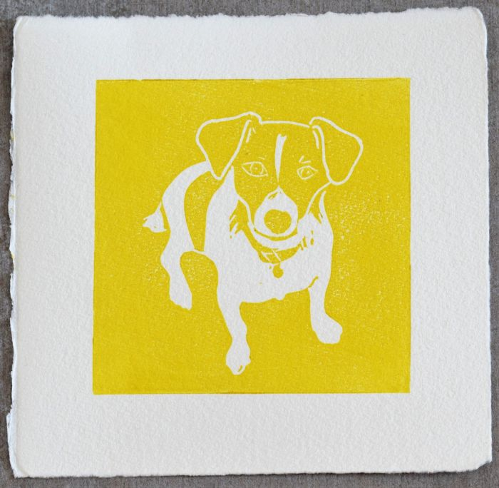 Yellow lino print of Jack Russell dog called Nelson