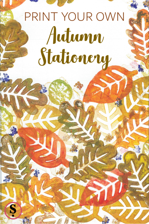print your own autumn stationery with foam stamps and fruits