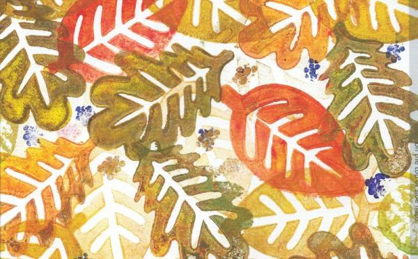 Autumn leaves printed with foam stamps