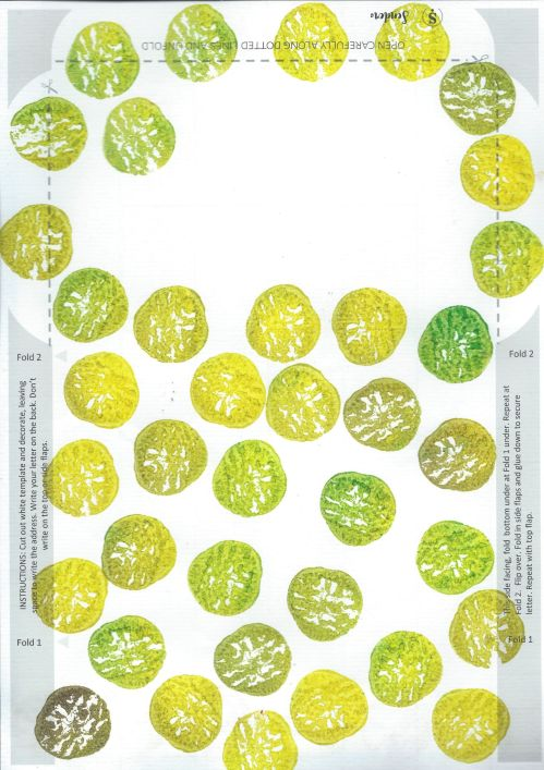 Fold and Send Mail printed in green with wild pears