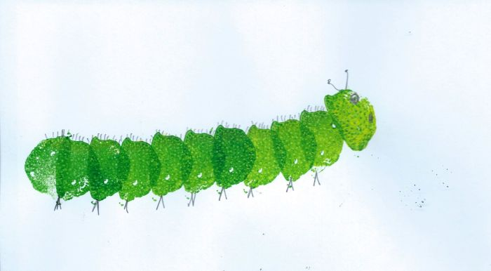 Vegetable print of caterpillar printed with sliced rhubarb