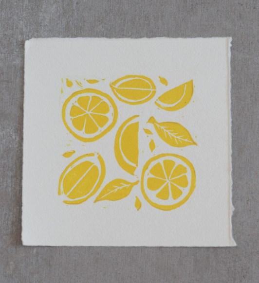 lino print of lemons
