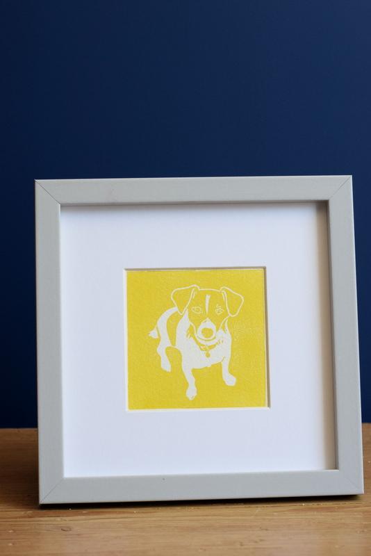 Nelson Yellow, Ruth Wheaton, Lino Print, 2018, on blue