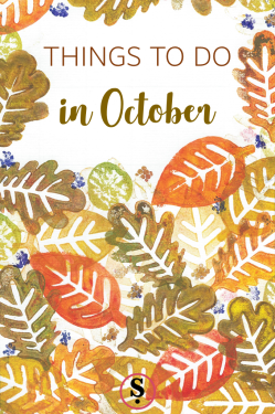 Things to do in October printed autumbn leaves