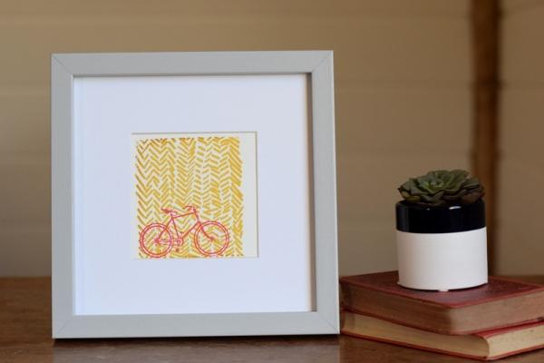 On Your Bike Yellow, Ruth Wheaton Printmaker, Screen Print, 2017