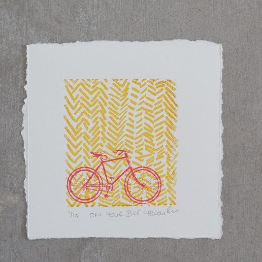 On Your Bike Yellow, Ruth Wheaton, Mini Screen Print, 2017
