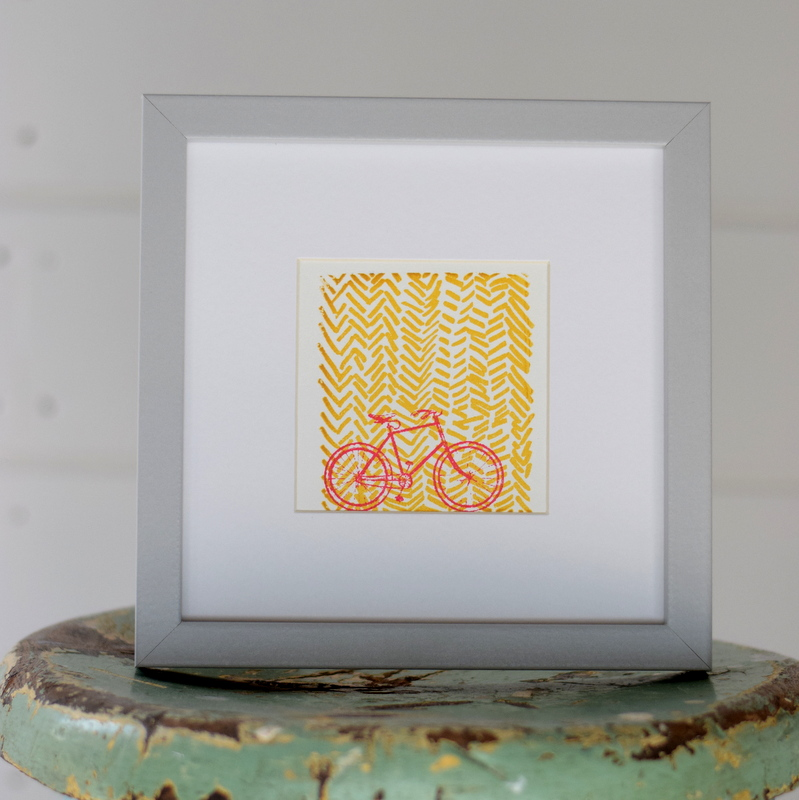 On Your Bike Yellow, Ruth Wheaton, Mini Screen Print, 2017