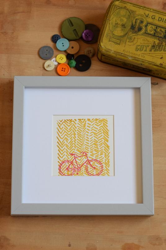 On Your Bike Yellow, Ruth Wheaton, Mini Screen Print, 2017,