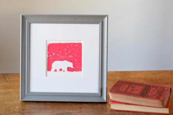 Polar Pink, Ruth Wheaton Printmaker, Mini Screen Print, 2017,
