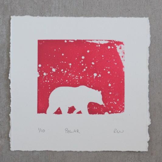 pink polar bear screen print by Ruth Wheaton Printmaker