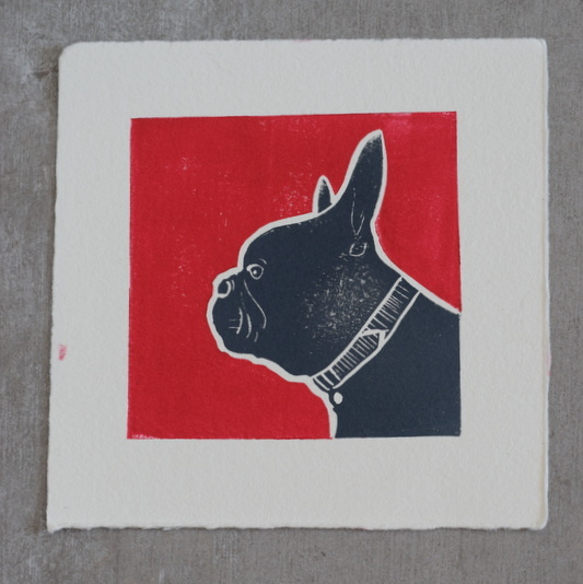 Stanley Red, Ruth Wheaton, Lino Print, 2018 - square