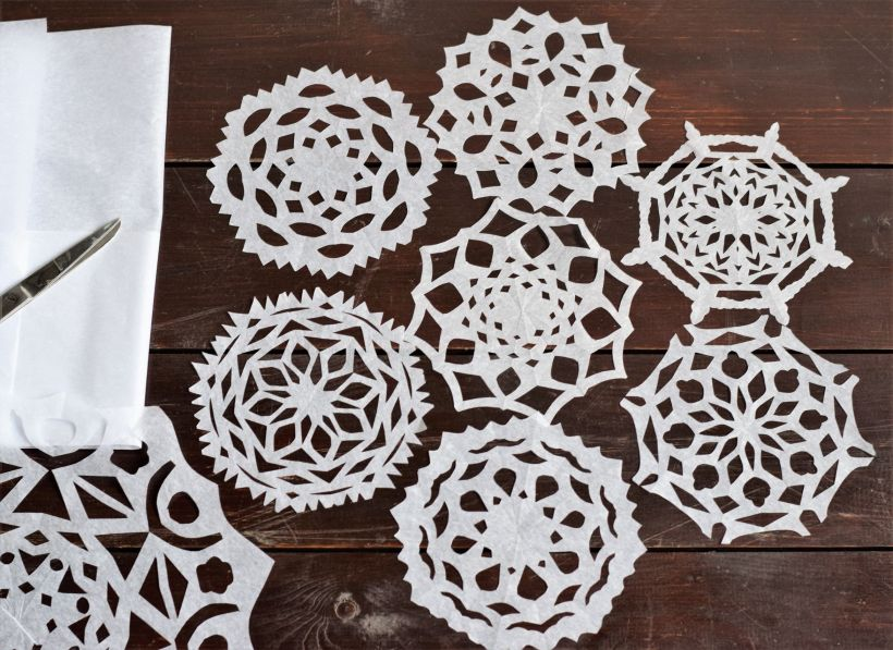 Flat paper snowflakes