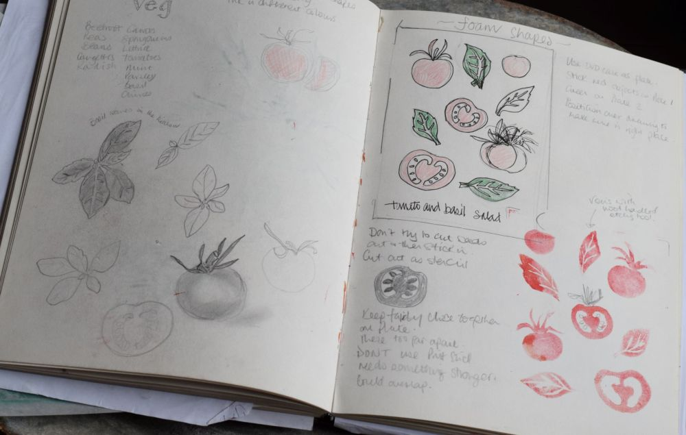 Visual journal sketches of tomato develp to foam shape print