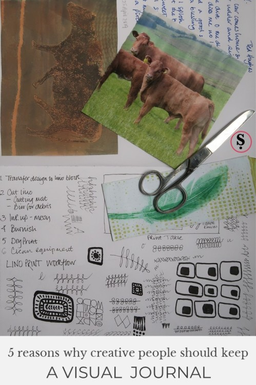 visual journal with photo of cattle, scissors, feather envelope, doodles