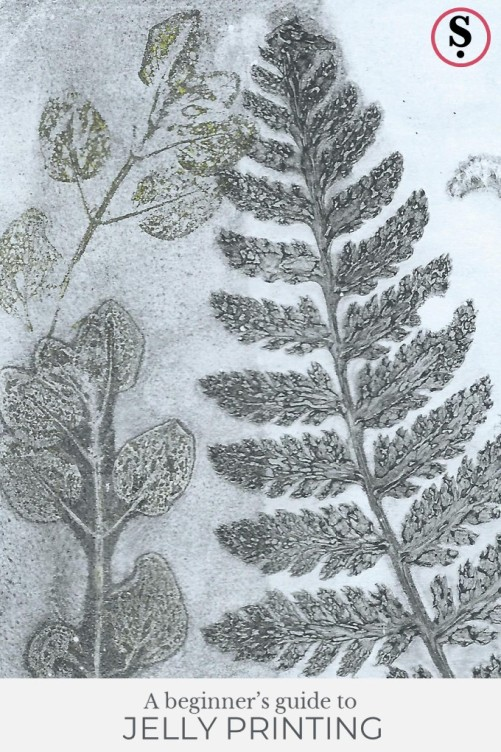 Jelly print of leaves in greys and greens on light grey background