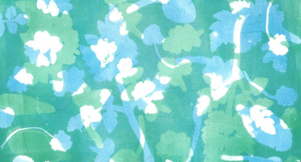 Jelly Printing silhouette prints of leaves layered blue and green