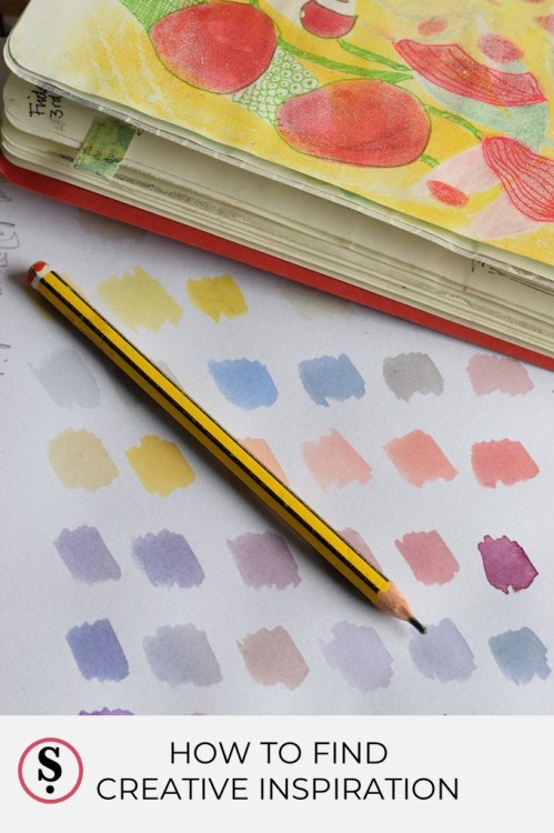 colour samples with open sketchbook and pencil text How to Find Creative Inspiration